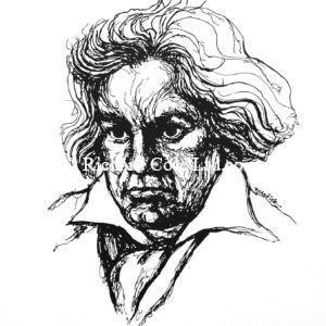 Silk screen Portrait of Beethoven.